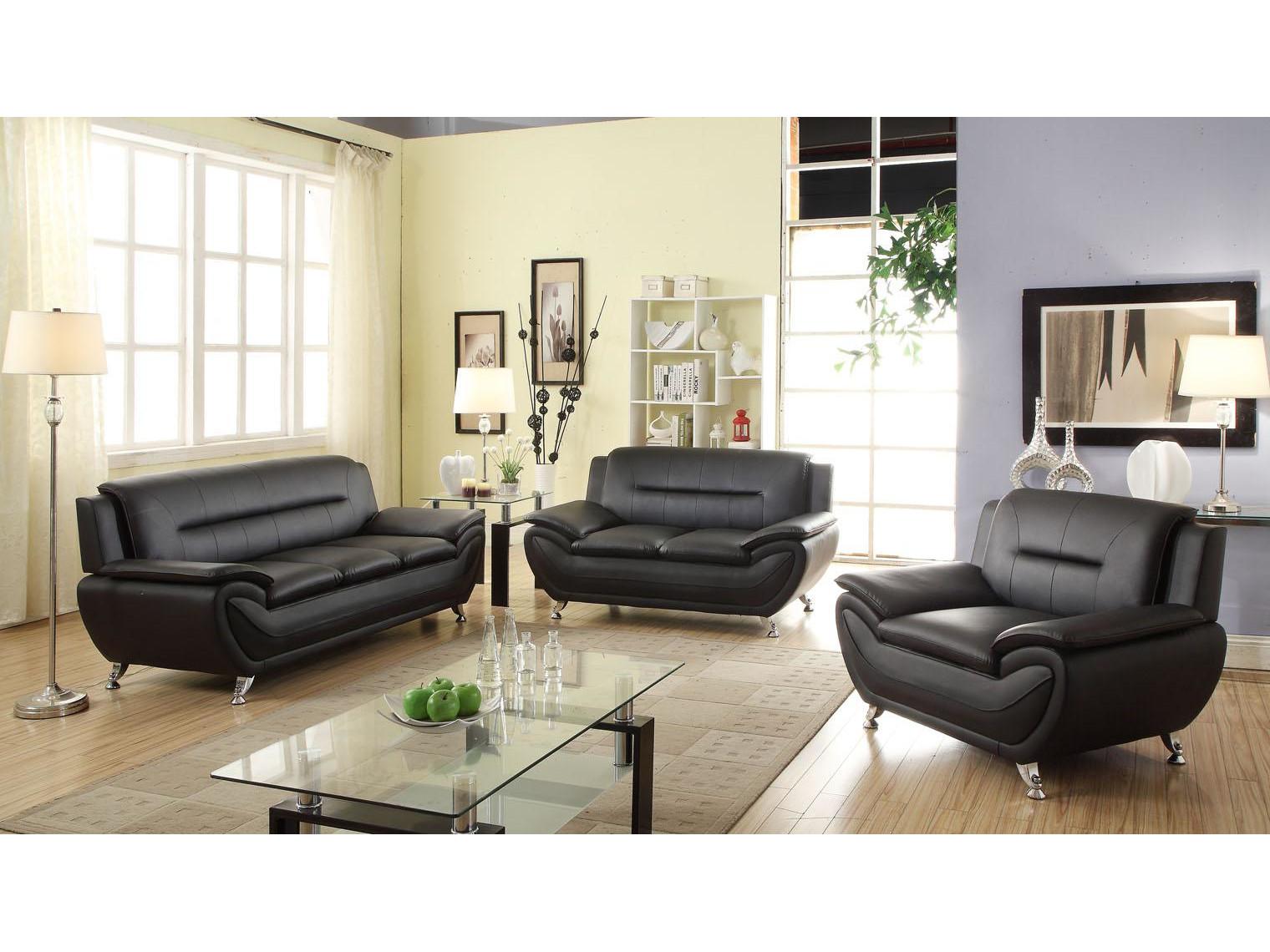 21138 – Sofa Set – MEGA-3350 – Black