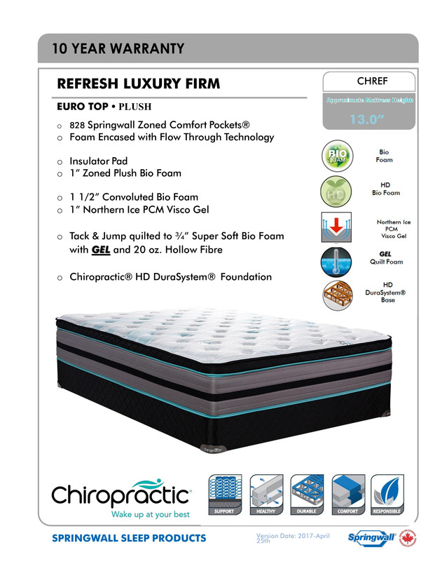 Springwall Chiropractic Refresh Mattress - Spec Sheet