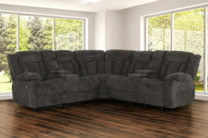 22187 - Reclining Sectional Charcoal - PR-Bryndle-Myst
