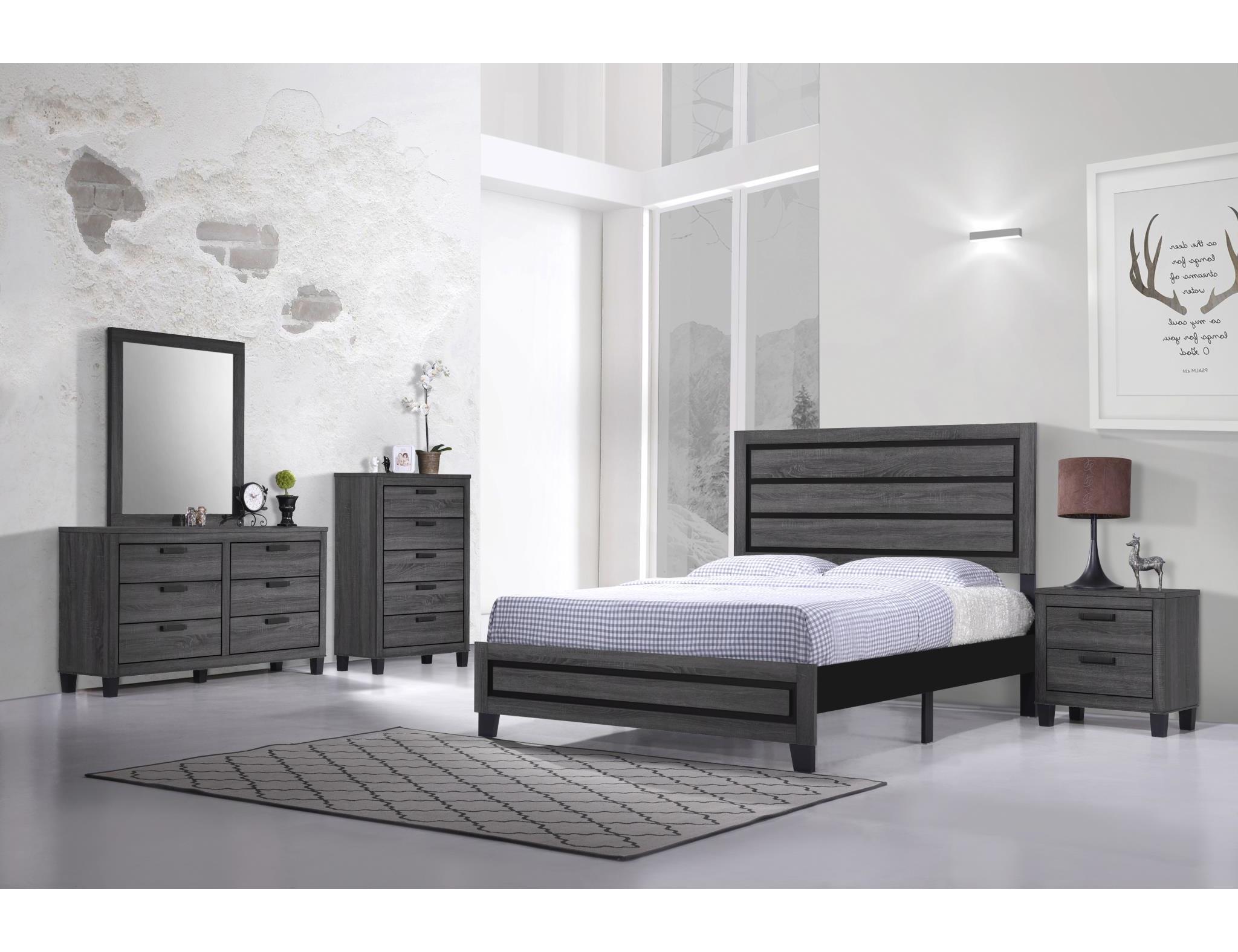 6 Piece Grey Bedroom Set Nothin Fancy Furniture Warehouse