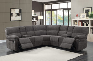 22840 - 3-piece Reclining Sectional - Open - PR-Hall Corduroy Charcoal
