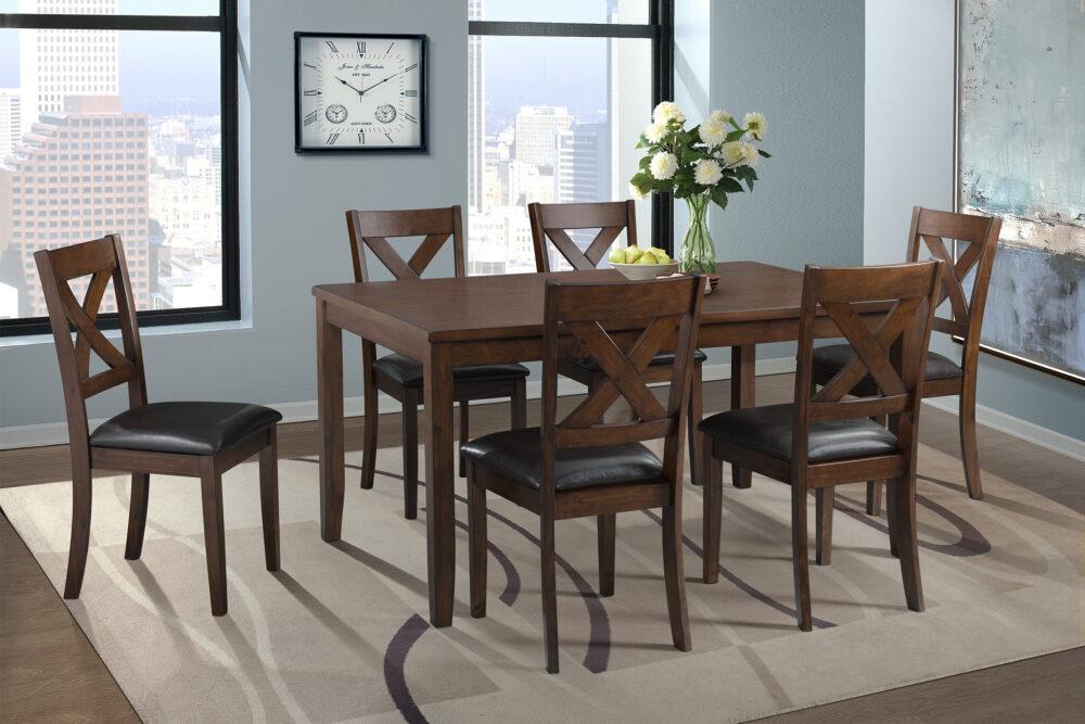23295-Walnut Table 6 Chairs-CA-EDAX1007
