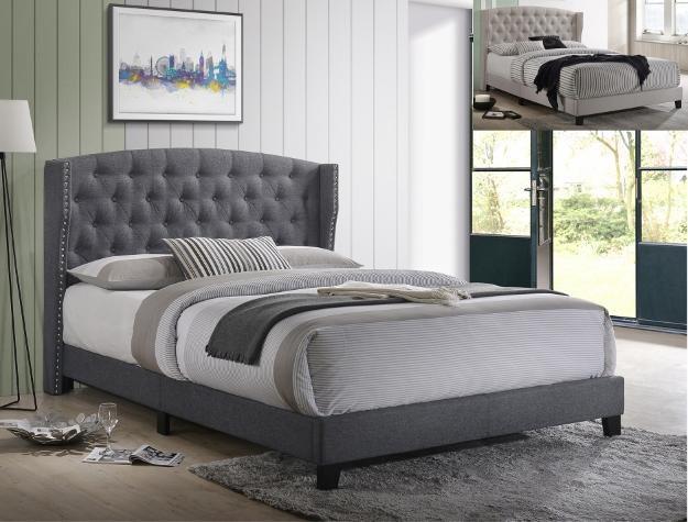23388 - Grey Linen Bed