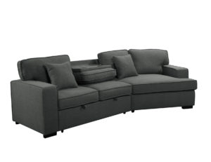 23560 - Sofa with Cuddler and Bed - Grey - PR-VIV - Console