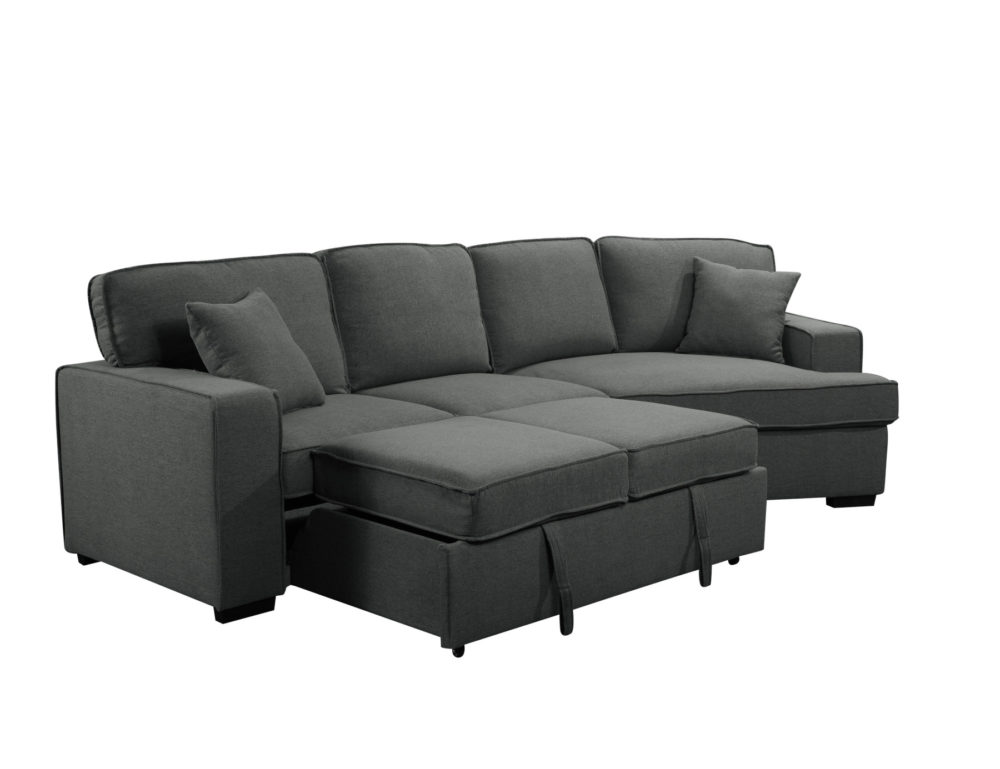 23560 - Sofa with Cuddler and Bed - Grey - PR-VIV - Bed