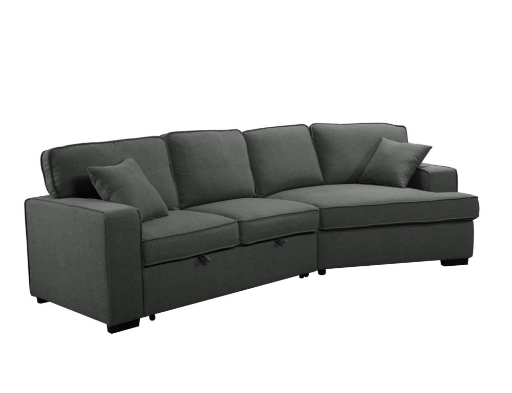 23560 - Sofa with Cuddler and Bed - Grey - PR-VIV