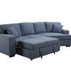 23562 - Sofa with Cuddler and Bed - Blue - PR-VIV - Bed