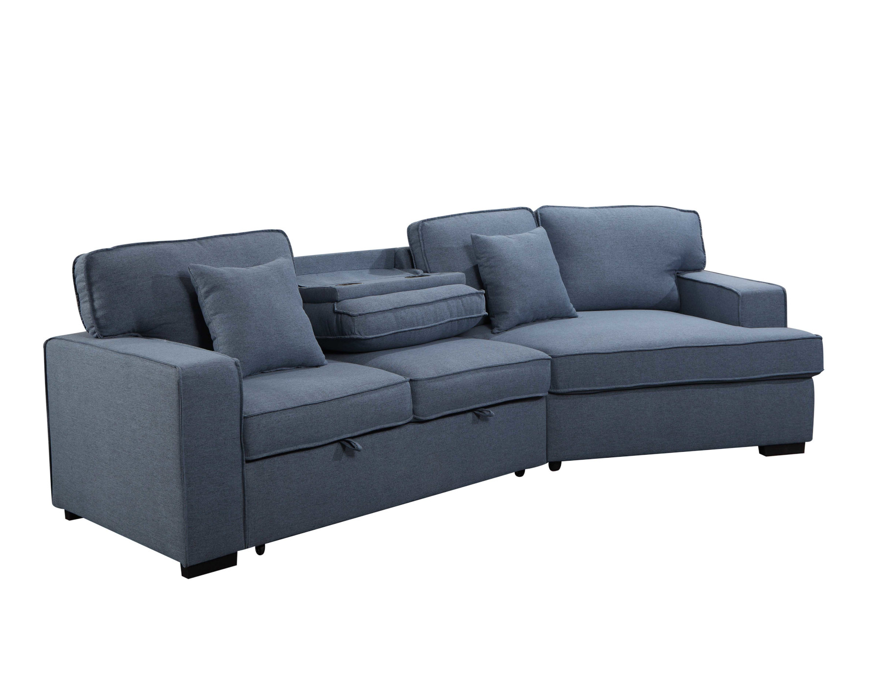 23562 – Sofa with Cuddler and Bed – Blue – PR-VIV – Console
