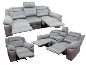 23849 - Reclining Sofa Set - UF-5993 - Grey - Open