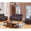 23892 - Leather Match Reclining Sofa Set - MEGA-7965 - Wine